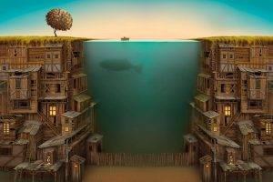 Ocean between a wooden city
