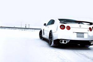White Car Nissan GTR