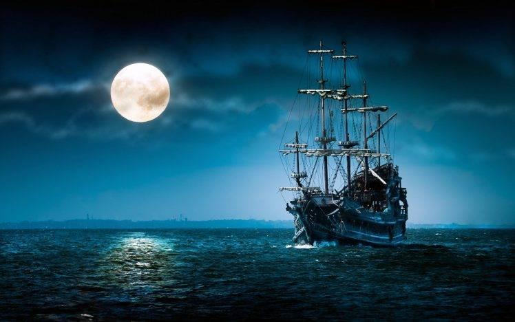 Sailboat At Moonlight HD Wallpaper Desktop Background