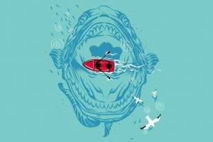 Ocean Minimalistic Seas Monsters Fun Art