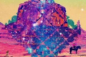 Rocks Cowboys Wild West Cosmic Multicolor Stars Desert Kids