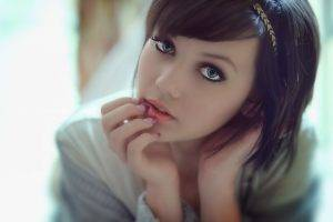anime, Model, Melissa Clarke, Hair Band, Painted Nails, Blouses, Women, Face, Blue Eyes, Dark Hair, Piercing, Suicide Girls