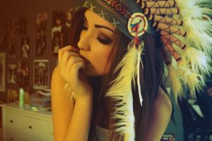 brunette, Native Americans, Women, Headdress, Anime, Melanie Iglesias, Summer, Portrait, Yellow
