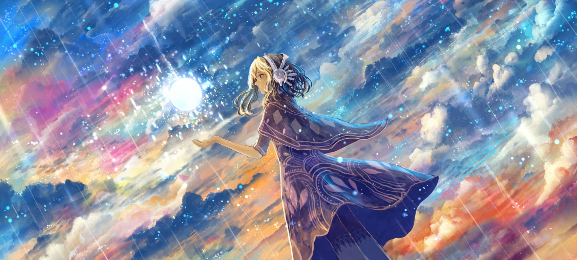 artwork, Fantasy Art, Anime, Magic, Stars, Clouds, Sky Wallpapers HD / Desktop and Mobile