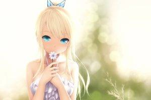 anime, Nature, Blurred, Anime Girls, Soft Shading, Bangs, Blonde, Long Hair, Butterfly, Blue Eyes, Ponytail, Flowers, Hair Ornament, Artwork, Kashiwazaki Sena, Boku Wa Tomodachi Ga Sukunai, Manga