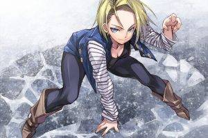 anime Girls, Android 18, Blonde, Blue Eyes, Anime