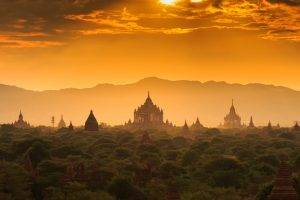 nature, Architecture, Landscape, Sunlight, Mist, Cambodia, Hill, Clouds, Trees, Tower, Jungles, Old Building, Sunset