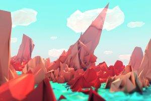 low Poly, Landscape, Digital Art, Artwork, Red, Blue