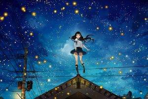 night, Power Lines, Rooftops, Stars, Anime Girls, Original Characters, Fireflies, Utility Pole