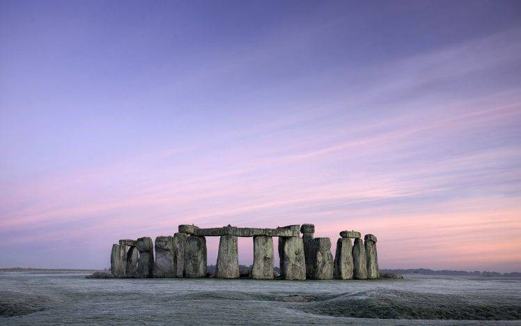 Stonehenge, UK, Winter, Frost, Field, Nature, Landscape, Architecture, Sky, Morning HD Wallpaper Desktop Background