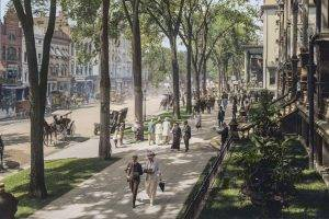 cityscape, Architecture, Building, Crowds, Street, Vintage, Photo Manipulation, Broadway, New York City, USA, Trees, Horse, Colorized Photos, Old Car, History