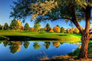 nature, Landscape, Trees, Grass, Fall, Colorful, Water, River, HDR, House, Reflection