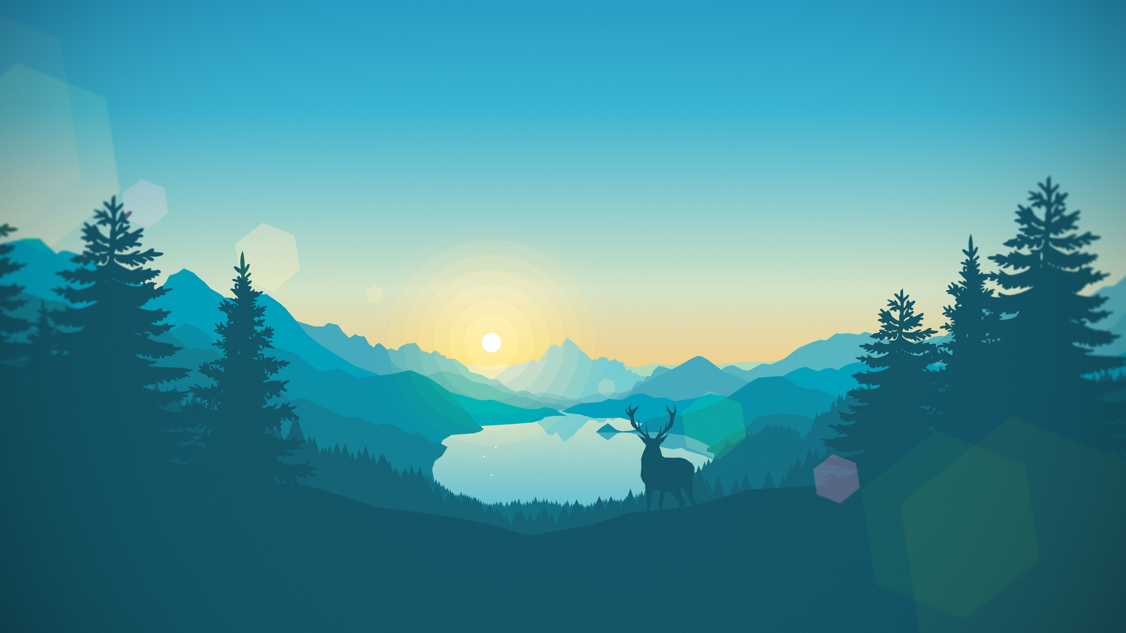 Sunrise lake artwork gradient vectors landscape - 2d nature wallpapers ...