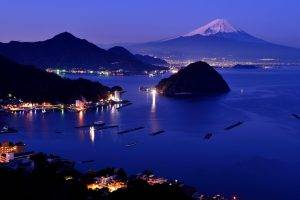 cityscape, Building, Landscape, Japan, Mount Fuji, Mountain, Snow, Island, Water, Sea, Bay, Evening, Lights, Ship, Boat, Dock, Hill, Reflection
