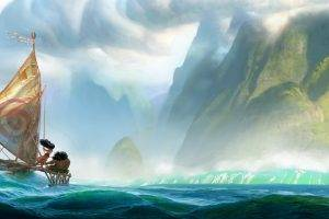 Moana, Landscape, Sea, Boat, Fantasy Art