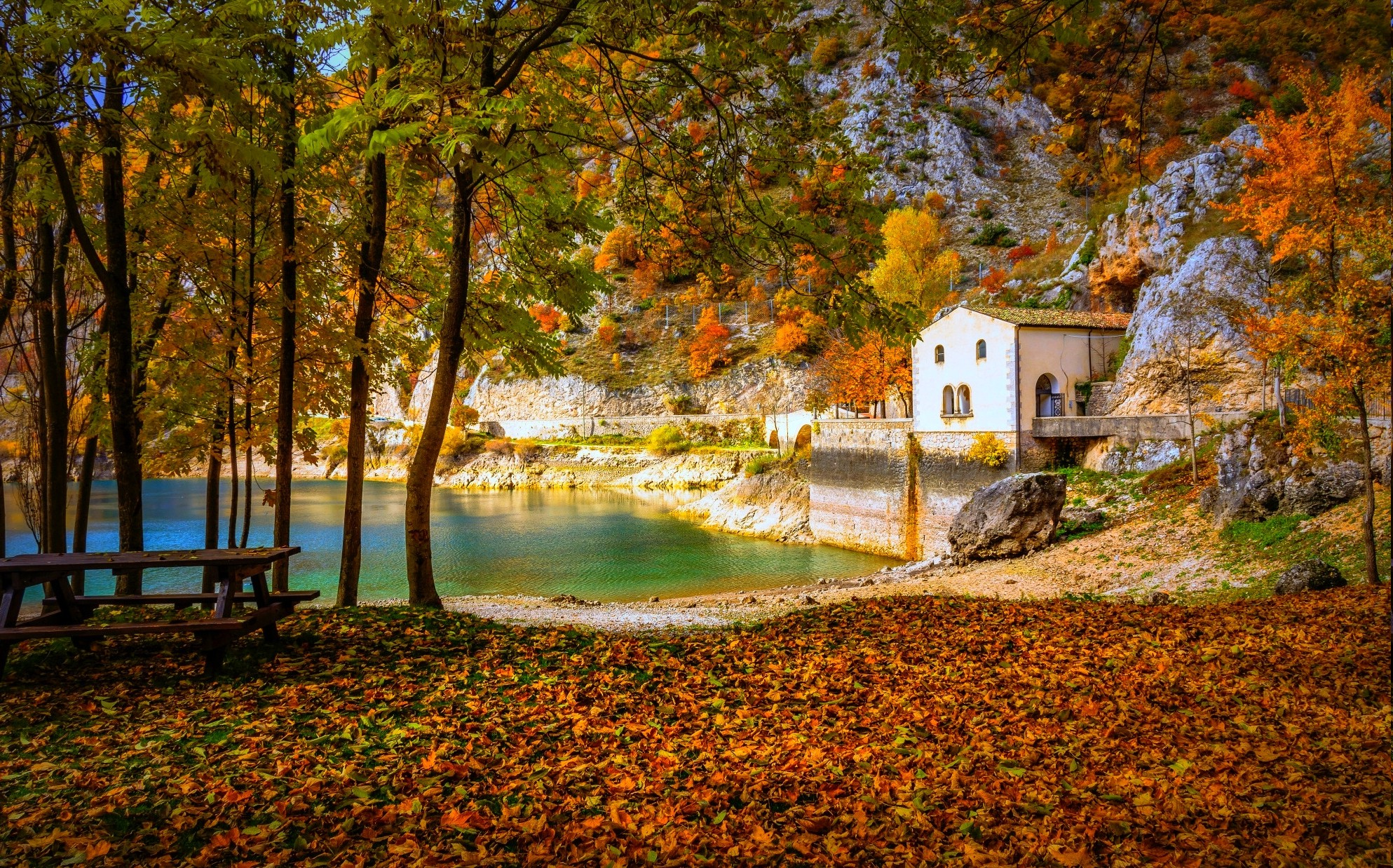 cottage lake fall camping italy trees hill yellow orange green blue nature landscape wallpapers hd desktop and mobile backgrounds