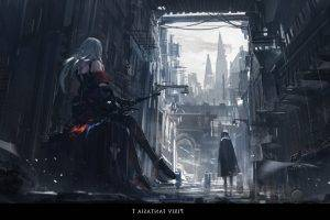 Pixiv Fantasia, Pixiv Fantasia T, Archer Natus, Original Characters, Long Hair, Bows, Weapon, City, Rain, Anime Girls, Anime