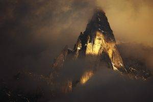 Alps, France, Mountain, Clouds, Snowy Peak, Morning, Sunrise, Lights, Nature, Landscape