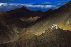 nature, Landscape, Mountain, Clouds, House, Hill, Tibet, China, Himalayas, Monastery, Flag, Buddhism, Rock, Path