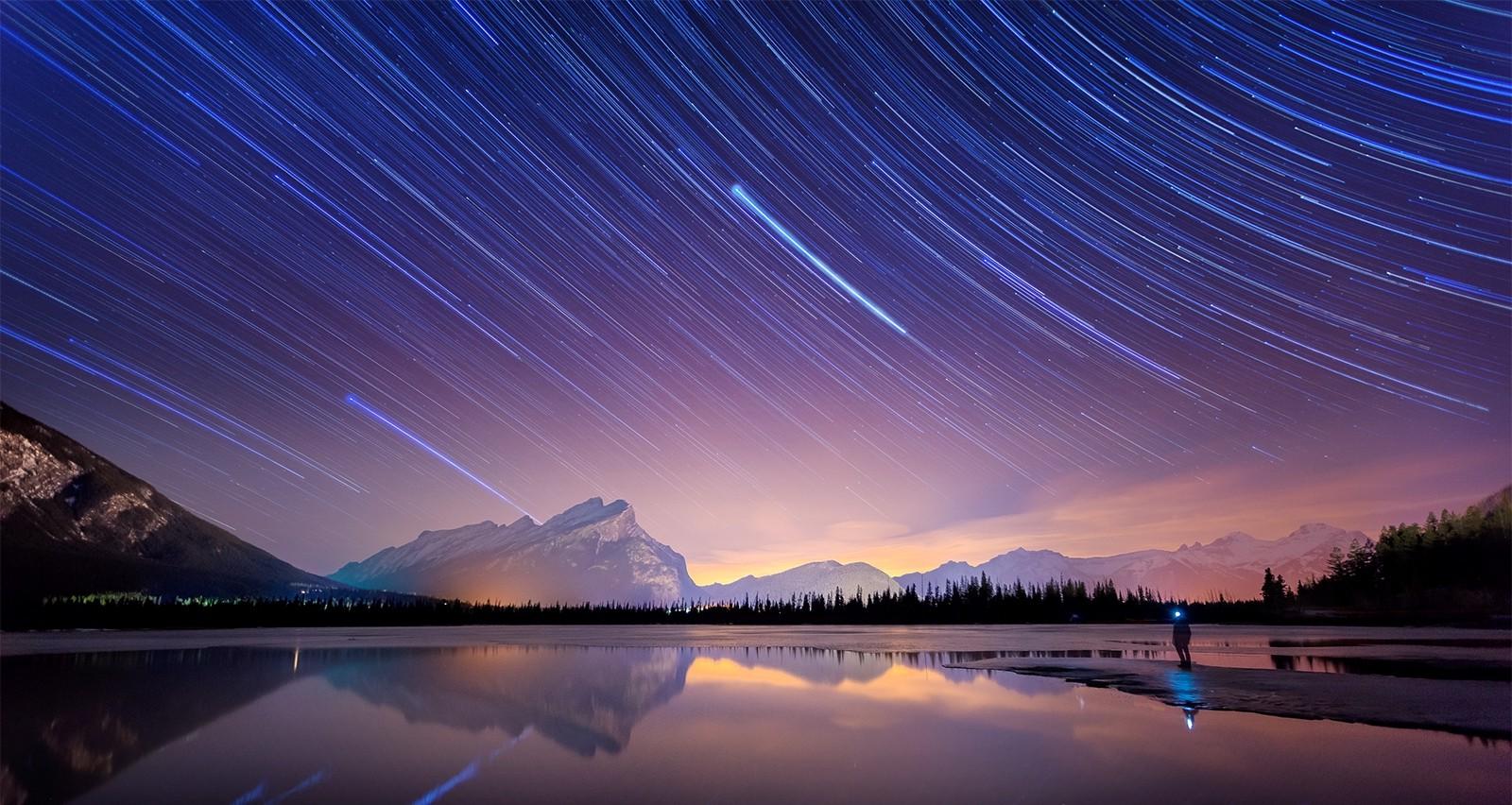 long exposure starry night lake banff national park