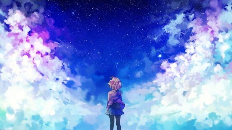anime Girls, Clouds, Stars, Kyoukai No Kanata HD Wallpaper Desktop Background