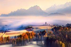 fall, Morning, Mist, Switzerland, Sunrise, Mountain, Forest, Valley, Nature, Landscape