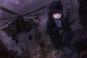 anime, Anime Girls, Gun, Helicopters