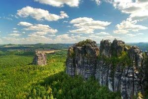 nature, Landscape, Forest, Rock, Clouds, Cliff, Valley, Villages