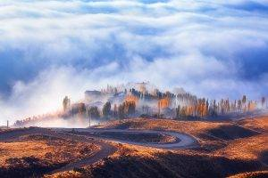nature, Landscape, Road, Mist, Fall, Clouds, Forest, Sunrise, Trees, Hairpin Turns