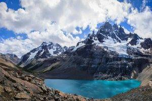 nature, Landscape, Chile, Andes, Lake, Mountain, Snowy Peak, Clouds, Summer