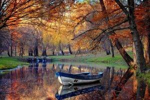 landscape, Fall, Boat, Park, Pond, Reflection, Trees, Nature, Water, Grass