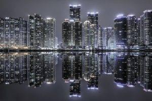 landscape, South Korea, Skyscraper, Cityscape, Reflection, Urban, Lights, Night, Building, Architecture, Modern, Water