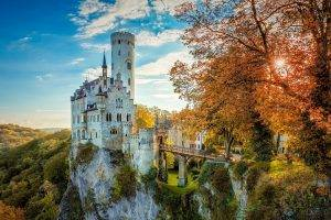 landscape, HDR, Nature, Cliff, Fall, Trees, Sunlight, Castle, Architecture, Building, Old Building, Tower, Bridge, Forest, Germany