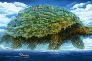 digital Art, Nature, Landscape, Sea, Animals, Turtle, Trees, Ship, Forest, Building, Clouds, Birds, Giant, Waves, Artwork