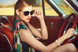 sunglasses, Scarf, Bangles, Red Lipstick, Car, Blonde, Vintage, Sitting