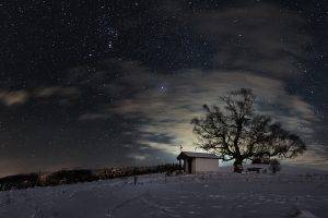 nature, Trees, Forest, Branch, Landscape, Winter, Snow, Clouds, Night, Sky, Stars, Church, Cross, Lights, Hill, Footprints, Bench, Long Exposure