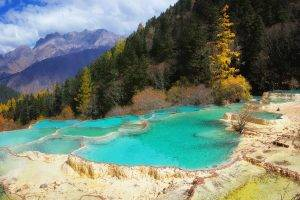 nature, Landscape, Terraces, Pond, Mountain, Forest, China, Fall, Trees, Clouds, Water, Turquoise