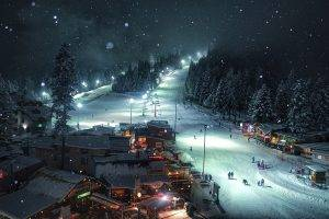 nature, Landscape, Snow, Forest, Village, Lights, Night, Cold