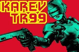 RoboCop, Cyborg, Women, Russian, Vintage, Typography, Red Background, Genderswap