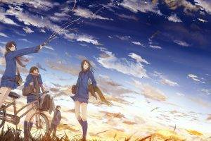 original Characters, Bicycle, School Uniform, Clouds, Sky, Anime Girls, Anime, Sunset, Schoolgirls