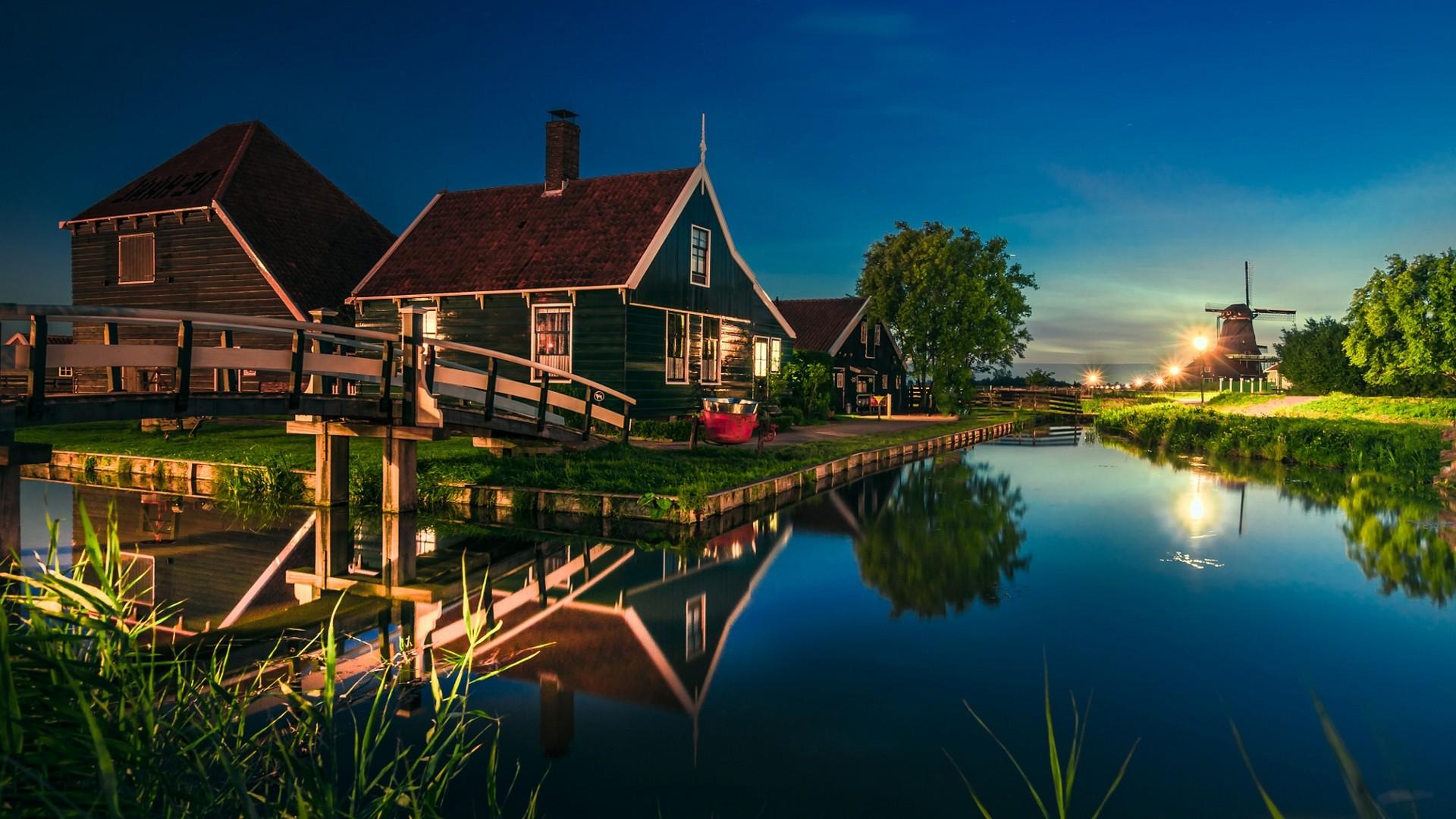 Hd wallpaper europe - Nature Landscape Canal House Bridge Water Lantern Reflection Netherlands Trees Grass Lights Blue Europe Evening Zaanse Schans Wallpaper Hd
