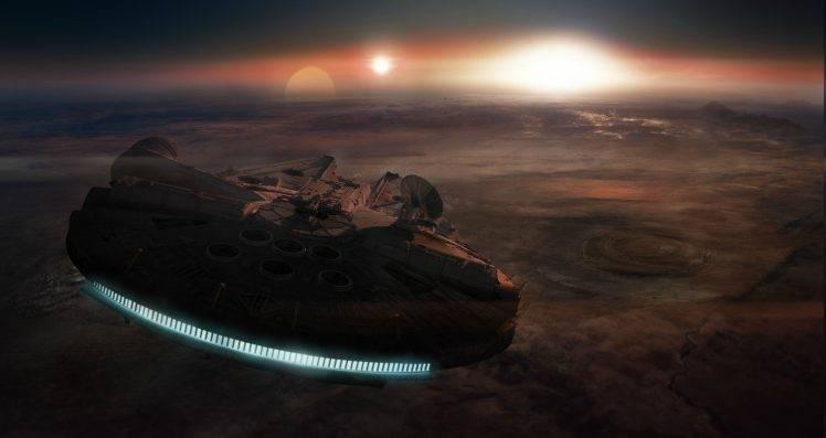digital Art, Space, Universe, Millennium Falcon, Spaceship, Lights, Planet, Sun, Star Wars HD Wallpaper Desktop Background
