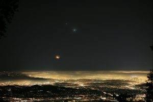night, Lights, Mist, Moon, Landscape, Venus, Jupiter