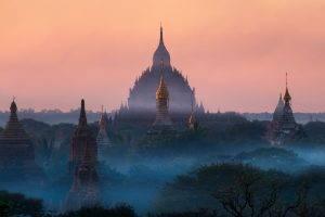 nature, Landscape, Sunrise, Temple, Mist, Buddhism, Tropical Forest, Sunlight, Blue, Myanmar, Architecture