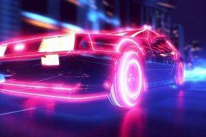 New Retro Wave, Synthwave, 1980s, Neon, DeLorean, Car, Retro Games