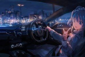 anime, Car, City, Anime Girls, Night, Ferrari, Aikatsu