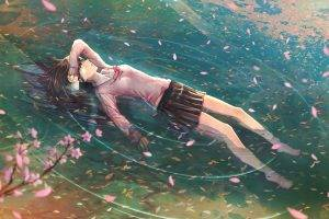 school Uniform, Anime Girls, Floating, Water, Cherry Blossom