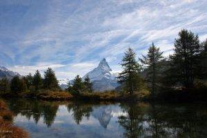 mountain, Lake, Matterhorn, Switzerland, Alps, Landscape