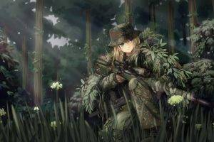 anime, Anime Girls, Original Characters, Military, Weapon, Camouflage, Ghillie Suit, Sniper Rifle, MP7, Forest, Soldier, Gun, TC1995, Fantasy Art, Manga