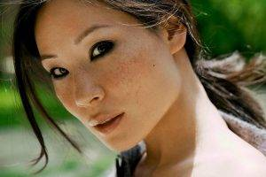women, Face, Anime, Freckles, Brunette, Dark Eyes, Lucy Liu, Charlie's Angels, Actress